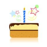 Stuk van verjaardagscake Stock Illustratie