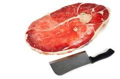 Stuk van vlees en mes royalty-vrije stock afbeeldingen