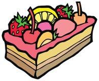 Stuk van zoete cake in het roze berijpen Royalty-vrije Stock Foto