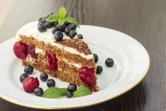 Stuk van zoete cake met kers, bosbes en munt Stock Afbeeldingen