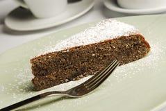 Stuk van zoete cake met vork Royalty-vrije Stock Foto