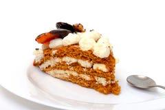 Stuk van zoete cake op plaat Stock Foto