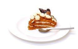 Stuk van zoete cake op plaat Royalty-vrije Stock Foto