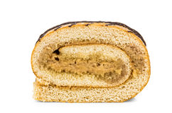 Stuk van zoete die broodjescake op wit wordt geïsoleerd Stock Foto