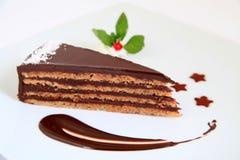 Stuk van zoete en smakelijke chocoladecake Royalty-vrije Stock Foto