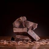 Stukken donkere chocolade Royalty-vrije Stock Afbeelding