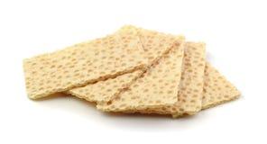Stukken droge broodcrackers stock afbeelding