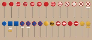 133 stukken Lege waarschuwing, gevaar stock illustratie