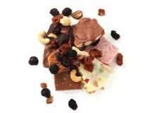 Stukken van chocolade Stock Foto's