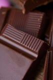 Stukken van chocolade Stock Fotografie