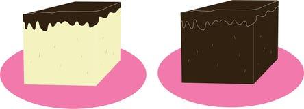 Stukken van chocoladecake op roze basis royalty-vrije stock fotografie