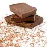 Stukken van donkere chocolade Royalty-vrije Stock Foto's