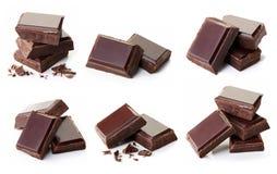 Stukken van Donkere Chocolade Stock Foto's