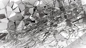 Stukken van Gebroken of Verbrijzeld glas op zwarte Royalty-vrije Stock Fotografie