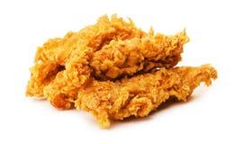 Stukken van knapperige gepaneerde gebraden kip stock foto's