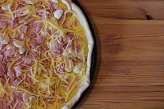Stukken van pastei met bacon en kaas Franse keuken Stock Afbeelding
