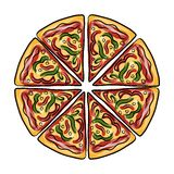 Stukken van pizza, schets voor uw ontwerp Stock Foto