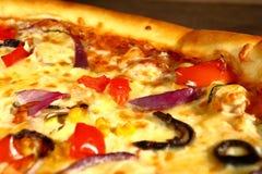 Stukken van plantaardige pizza Stock Fotografie