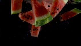 Stukken van watermeloendaling en vlotter in water, zwarte achtergrond Langzame Motie stock footage