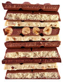 Stukken van witte en donkere chocolade Royalty-vrije Stock Afbeeldingen