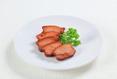 Stukken van zout varkensvlees Stock Afbeelding
