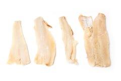 Stukken zoute kabeljauwvissen Stock Foto