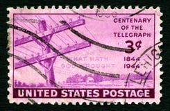Stulecie telegraf USA znaczek pocztowy Obrazy Stock