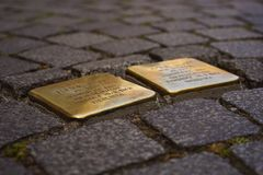 Stumbling Blocks, Memorial Tablets Stock Photo
