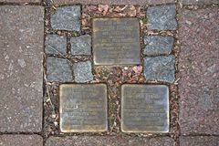Stumbling Stones remind the stay of the Frank family to Pastor Platz 1 in Aachen, Germany. Royalty Free Stock Image
