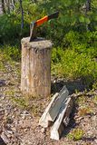 Stump, axe and firewood Royalty Free Stock Photography