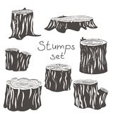 Stump black silhouettes  set. Stump black and white silhouettes set  illustration isolated icons Royalty Free Stock Photo