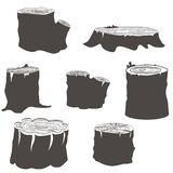 Stump black and white silhouettes set. Illustration icons isolated Royalty Free Stock Photo