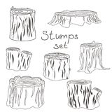 Stump black and white silhouettes set. Stump black and white outline silhouettes set  illustration isolated icon Stock Photography