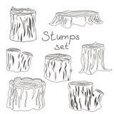 Stump black and white silhouettes set stock illustration