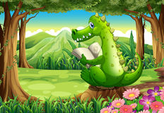A stump with a crocodile stock illustration