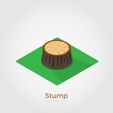 Stump isometric vector illustration. Cutted down old tree stump on green square. Vector illustration in isometric style. Stylish flat colors. Forest felling vector illustration
