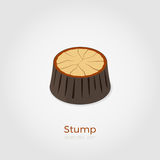 Stump isometric vector illustration. Cutted down old tree stump. Vector illustration in isometric style. Stylish flat colors. Forest felling process illustration stock illustration