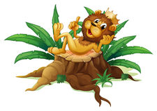 A stump with the king of the jungle Stock Images