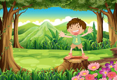 A stump with a playful kid Stock Image