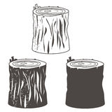 Stump silhouettes set  illustration Royalty Free Stock Image