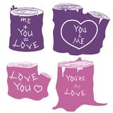 Love  inscription stump silhouettes set. Stump silhouettes set with love inscription  illustration isolated pink and violet Royalty Free Stock Image