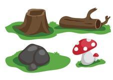 Stump timber stone and mushroom vector. Cartoon Stock Illustration