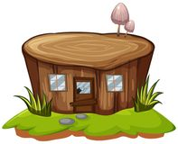 Stump tree with door and windows. Illustration Royalty Free Stock Photos