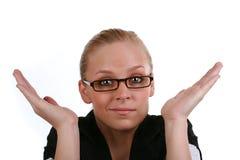 Stumped Geschäftsfrau Stockfoto