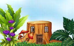 Stumpfbaum mit Fenstern und Tür vektor abbildung