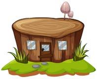 Stumpfbaum mit Tür und Fenstern stock abbildung