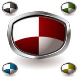 Stumpy modern shield. Modern heraldry shield with square pattern and silver metal bevel edge Stock Photography