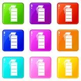 Stun grenade icons 9 set Royalty Free Stock Image