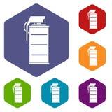 Stun grenade icons set hexagon Royalty Free Stock Images