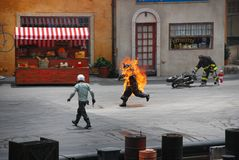 """Stun show in hollywood studio. Motors extreme Stunt show called """"Lights, Motors, Action!"""" in Hollywood studio, Orlando ,Florida.  . The show runs for about Stock Images"""